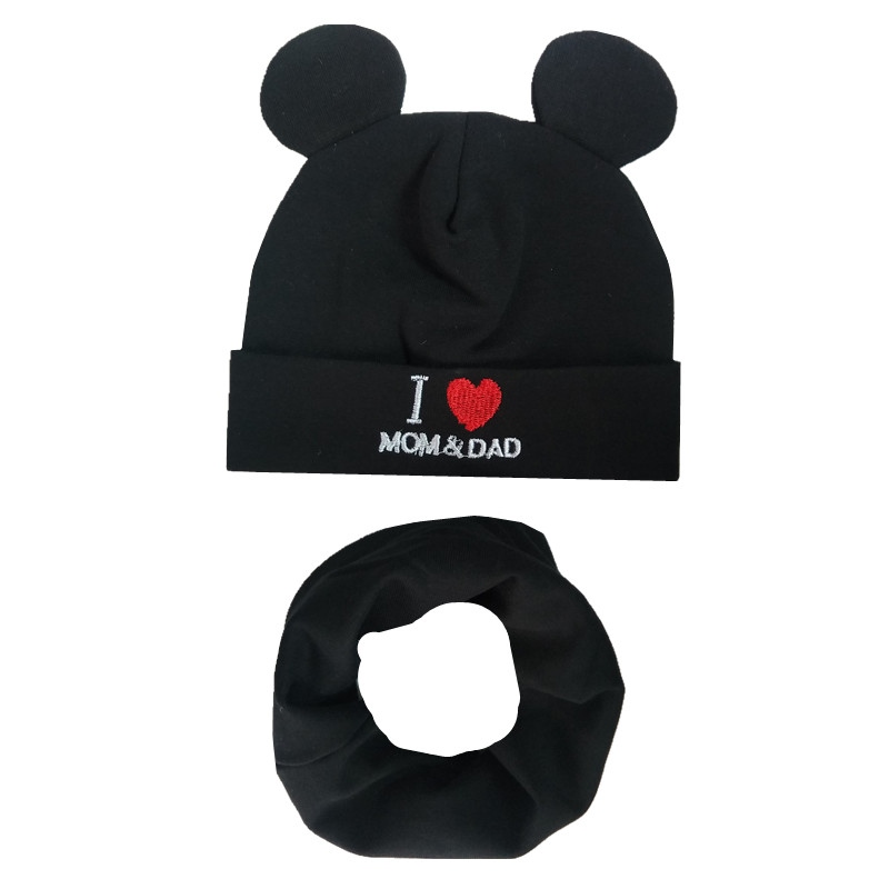 Spring Autumn Children Cotton Hat Scarf Set Love Mom Print Boys Girls Hats Bibs Child Neck Scarf Cap Kids Beanies Photo Props