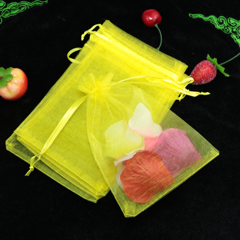 200pcs/lot Yellow Organza Bag Jewelry Gift Bags 7x9cm Small Charm Jewelry Gift Packaging Bag Wedding Favor Organza Pouches