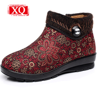 XQ Chinoiserie Snow Boots Winter Women S Shoes Mother Shoes Retro Warm Grandma Boots Non Slip