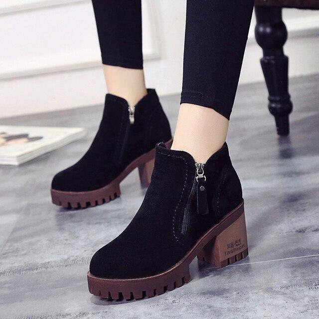 09e405a0d Além de veludo das mulheres do Sexo Feminino com zíper sapatos de Cano  Curto senhora nubuck