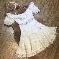 linen dresses 2018 for women puff sleeve dress summer white off shoulder lace dress