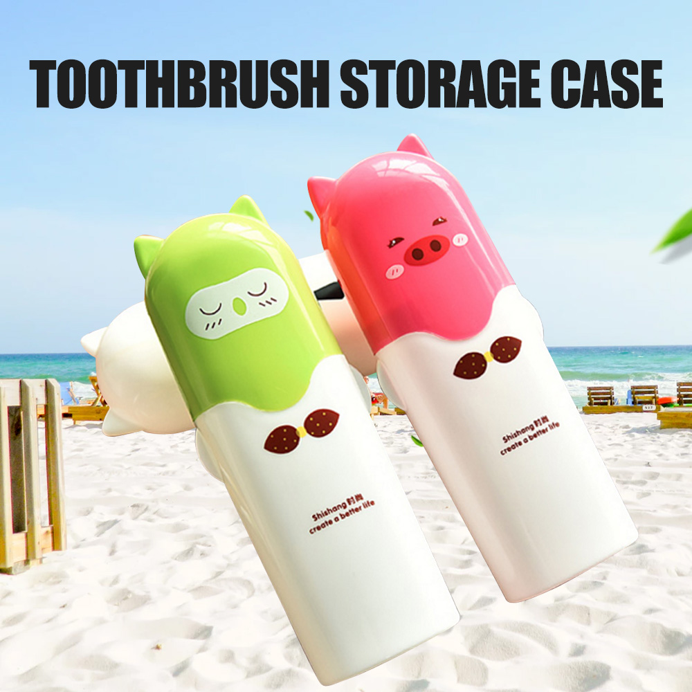 2018 New Outdoor Cute Cartoon Toothbrush Storage Case Portable Bathroom Toothpaste Holder Organizer Cup For Traveling