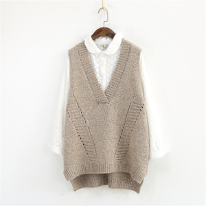 Image 4 - Johnature Women Sweaters V Neck Sleeveless Loose 2020 Autumn New Korean Fashion Hollow Out 4 Colour Casual Tops Vest Sweaters