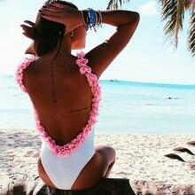 3D Flower One Piece Swimsuit Women Monokini Swimwear White Bodysuit Trikini 2017 Backless Stretch Shoulder Female Bathing Suit