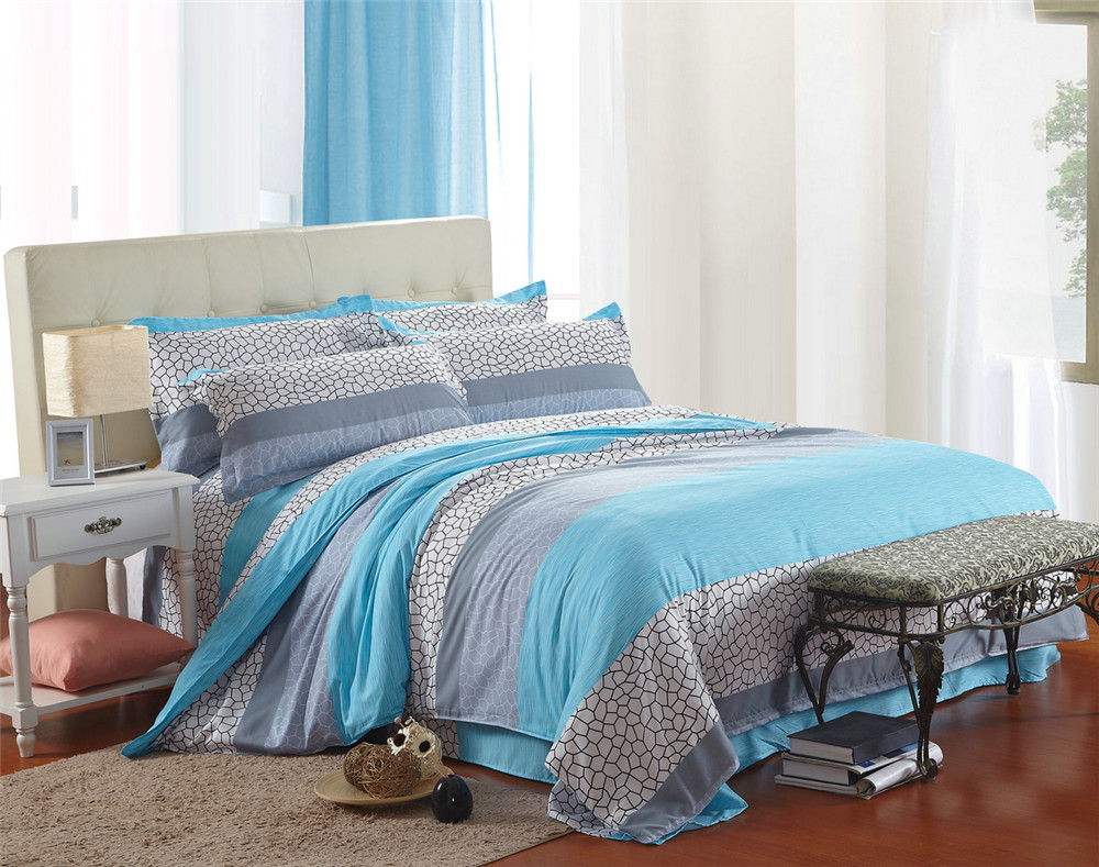 Modern bed sheets pattern - Chinese Modern Bedding Bed Sets Queen King Twin Kids 4 5 Pcs Blue Plaid Geometric