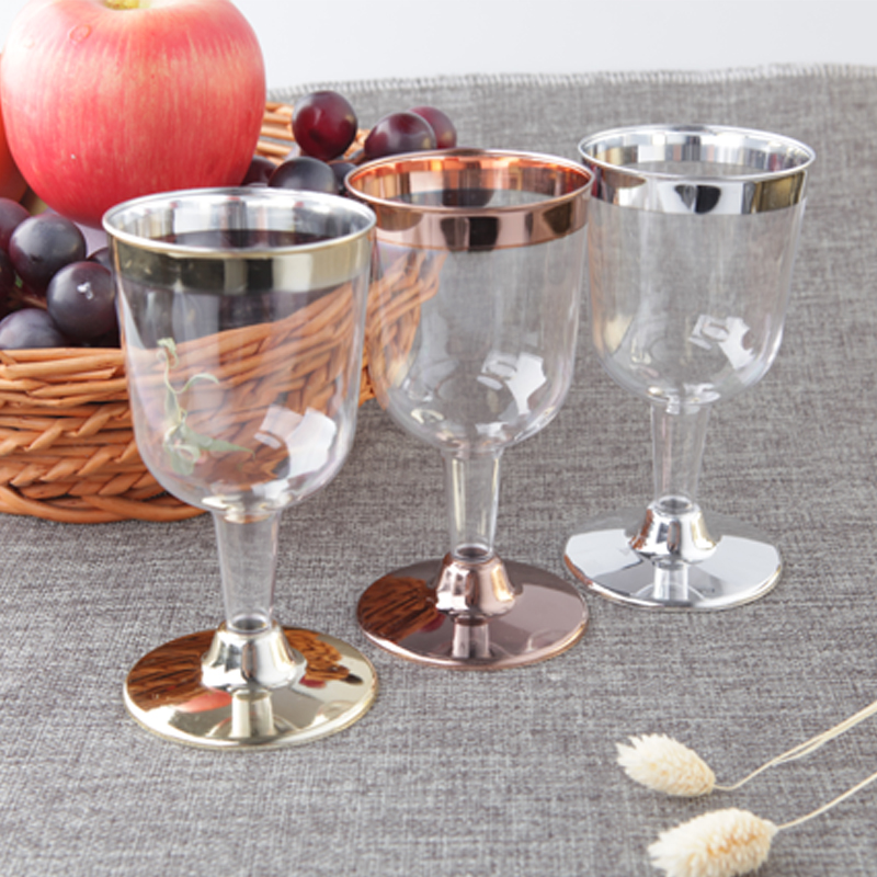 170ml Disposable Plastic Glass for Wine Champagne Cocktail Brandy Party Drinking Glass Outdoor Tableware 6OZ 48pcs