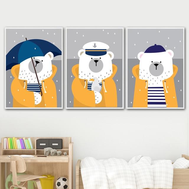 Navy Bear Rain Umbrella Nursery Art Prints