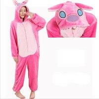 Women Character Stitch Pajamas Set Adult Coral Fleece Sleepwear Animal Pajama Womens Full Sleeve Hooded Pijama