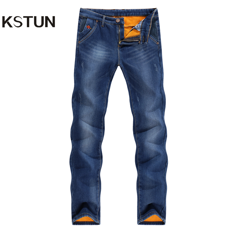 KSTUN Jeans Men Warm Thicken Fleece Black Blue Slim Skinny Pencil Pants Stretch Tapered Casual Yong Man Trousers Fashion Pockets