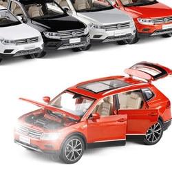 Высокая моделирования Volkswagen Tiguan L, 1:32 Масштаб сплава отступить модель автомобиля, muaical и мигает, литой металлической модели, бесплатная дост...