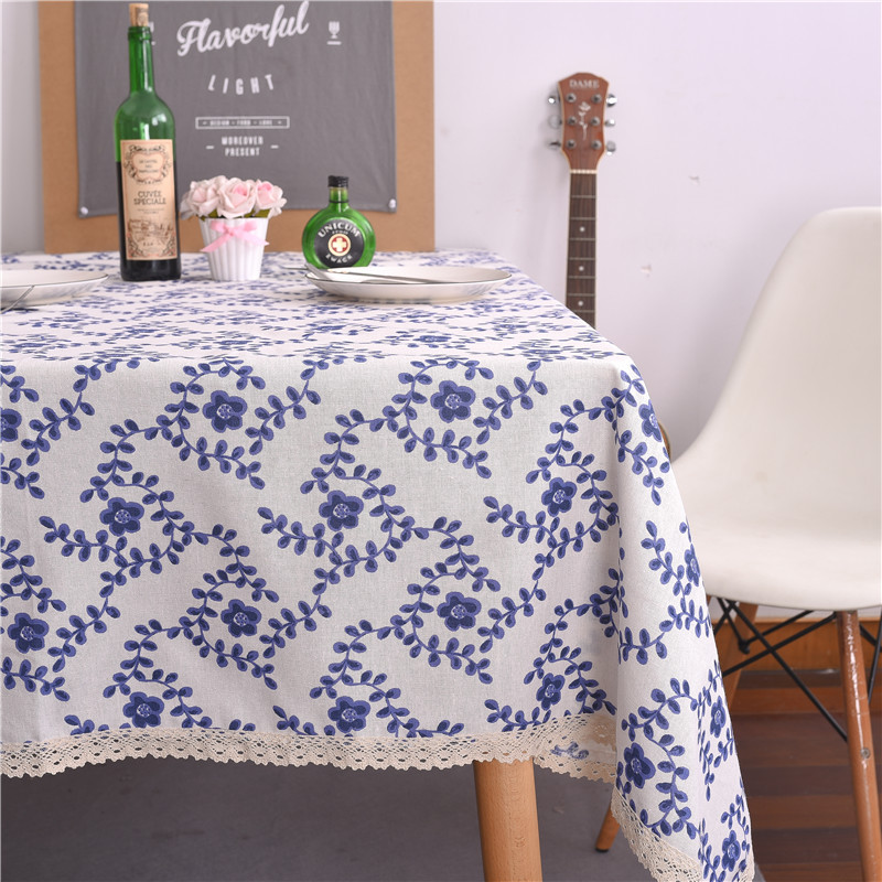 Blue And White Porcelain National Wind Table Cloth Blue Plum Cotton Linen  Tablecloth Decorative Tablecloth Dust