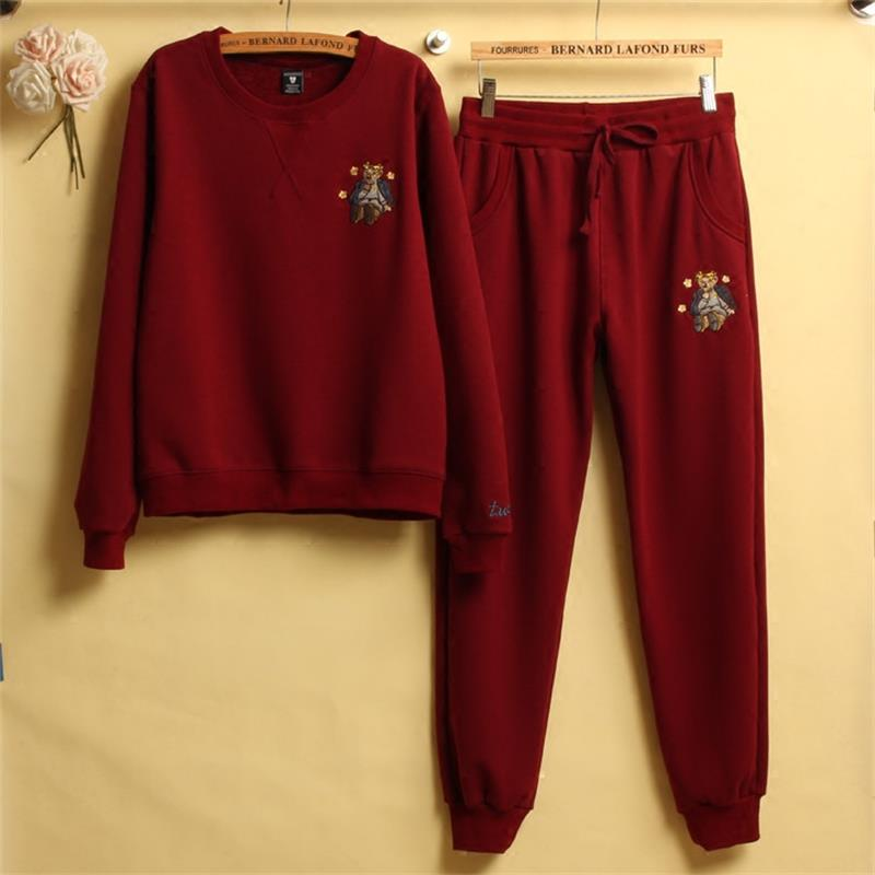 Autumn And Winter Women embroidery Tracksuits Set Tops + Pants Two Pieces Track Women Suit Keep warm Casual Sportswear Feminine
