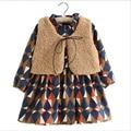 Girls Kids Clothes Winter Diamond Plaid Thick Children Clothing Fashion Lamb's Wool Fur Vest + Girls Dress Clothing Sets Costume