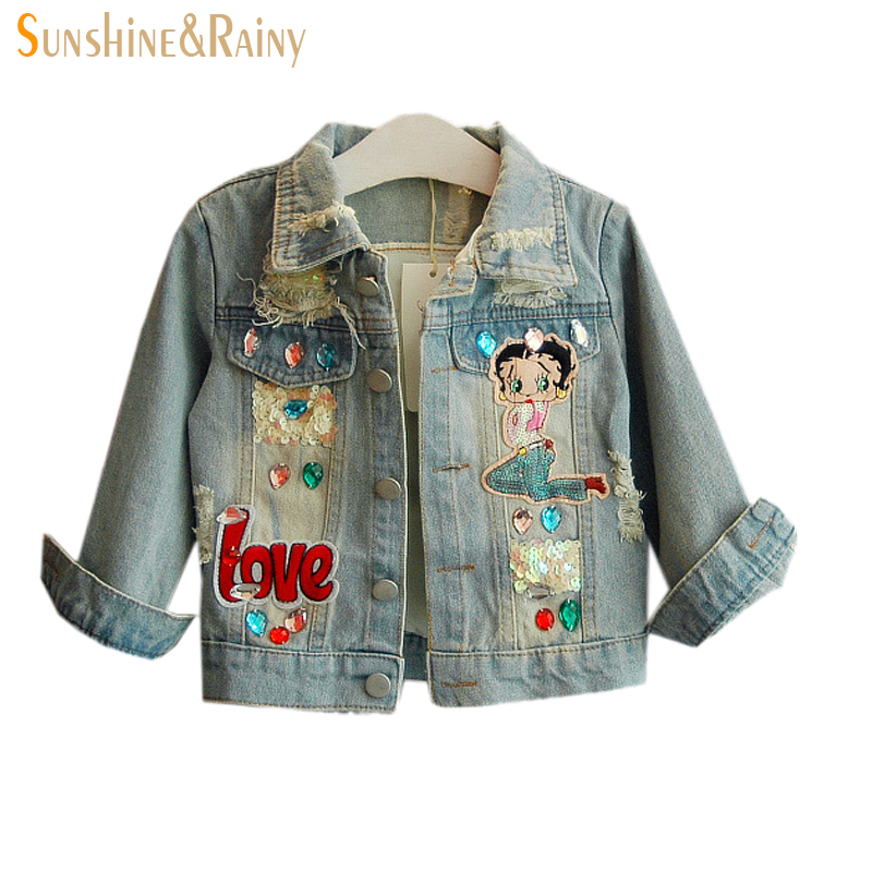 1d9e9dc070 US $20.7 25% OFF|Sunshine Rainy Spring Baby Girls Denim Jackets Rhinestones  Ripped Jeans Sequins Little Girl Design Cartoon Kids Outerwear-in Jackets  ...