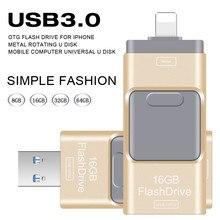 USB Flash Drive 64GB Pendrive High Speed Pen Drive for Iphone 5/5s/5c/6/6 Plus/7/ipad USB Stick Flash Drive OTG USB 3.0 16GB