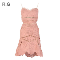 RG Sexy Women Lace Two Piece Summer Set Hollow Out Design Bra Straps Crop Top Fishtail Skirt vs Pink Women 2 Piece Suit Sets