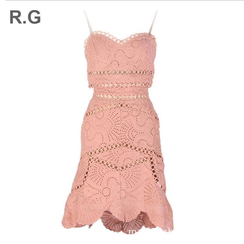 RG Sexy femmes dentelle deux pièces été ensemble évider conception soutien-gorge bretelles haut court queue de poisson jupe vs rose femmes 2 pièces costume ensembles
