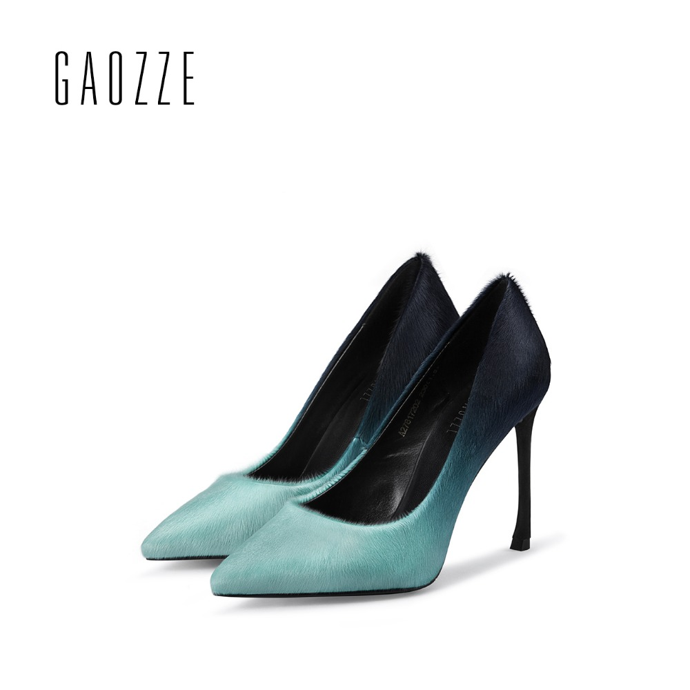 GAOZZE Sexy pointed toe party women shoes female shallow mouth high heels pumps shoes luxury women pumps 10CM 2017 autumn new high quality women shoes colorful rhinestone shallow mouth high heels mature women pumps round toe slip on party wedding shoes