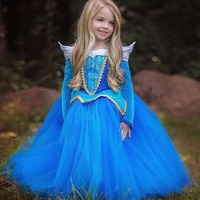 Kids Girls Sleeping Beauty Princess Dress Halloween Cosplay Costume Kid Party Wear Performance Clothes Fantasia