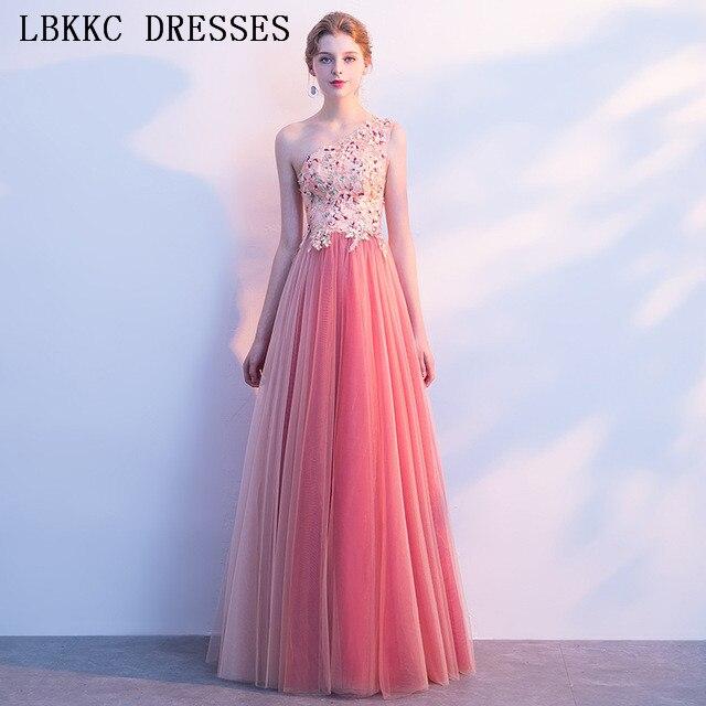 Gala Jurken One Shoulder Pink   Prom     Dresses   Tulle Beading Embroidery Vestido De Festa Sleeveless   Prom   Long Elegant   Dresses
