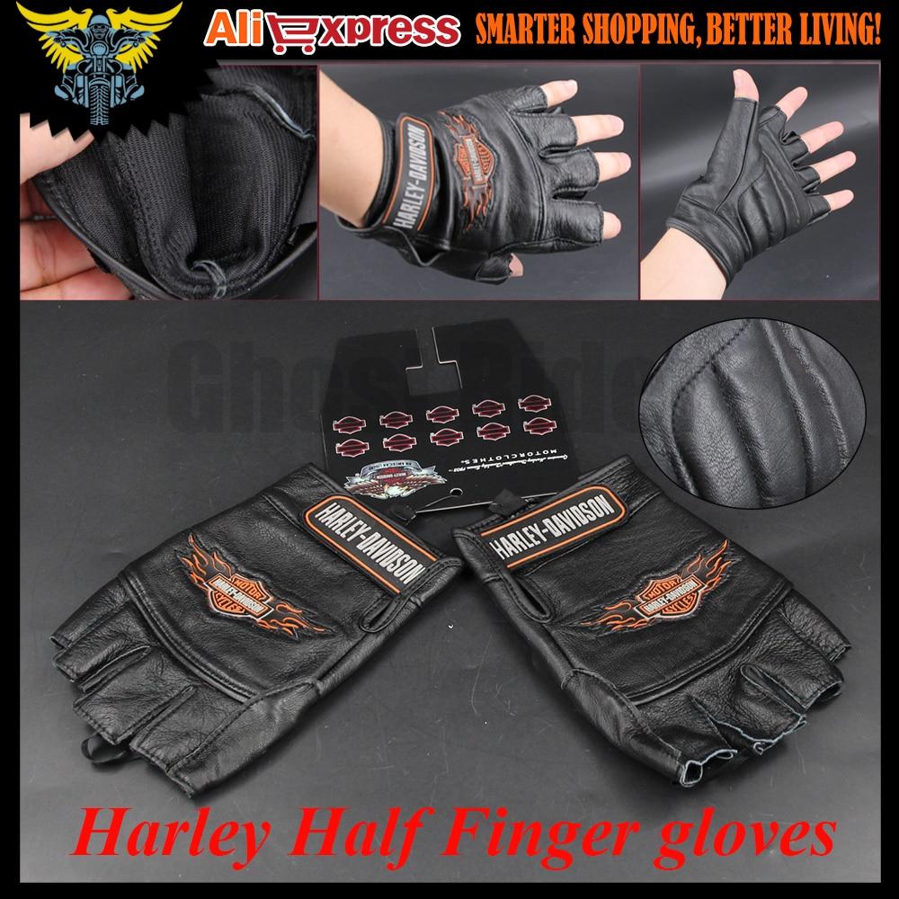 Motorcycle gloves price - Harley Motorcycle Gloves Half Finger Gloves Men S Leather Biker Leather Gloves Harley Sportster Dyna Touring Softail