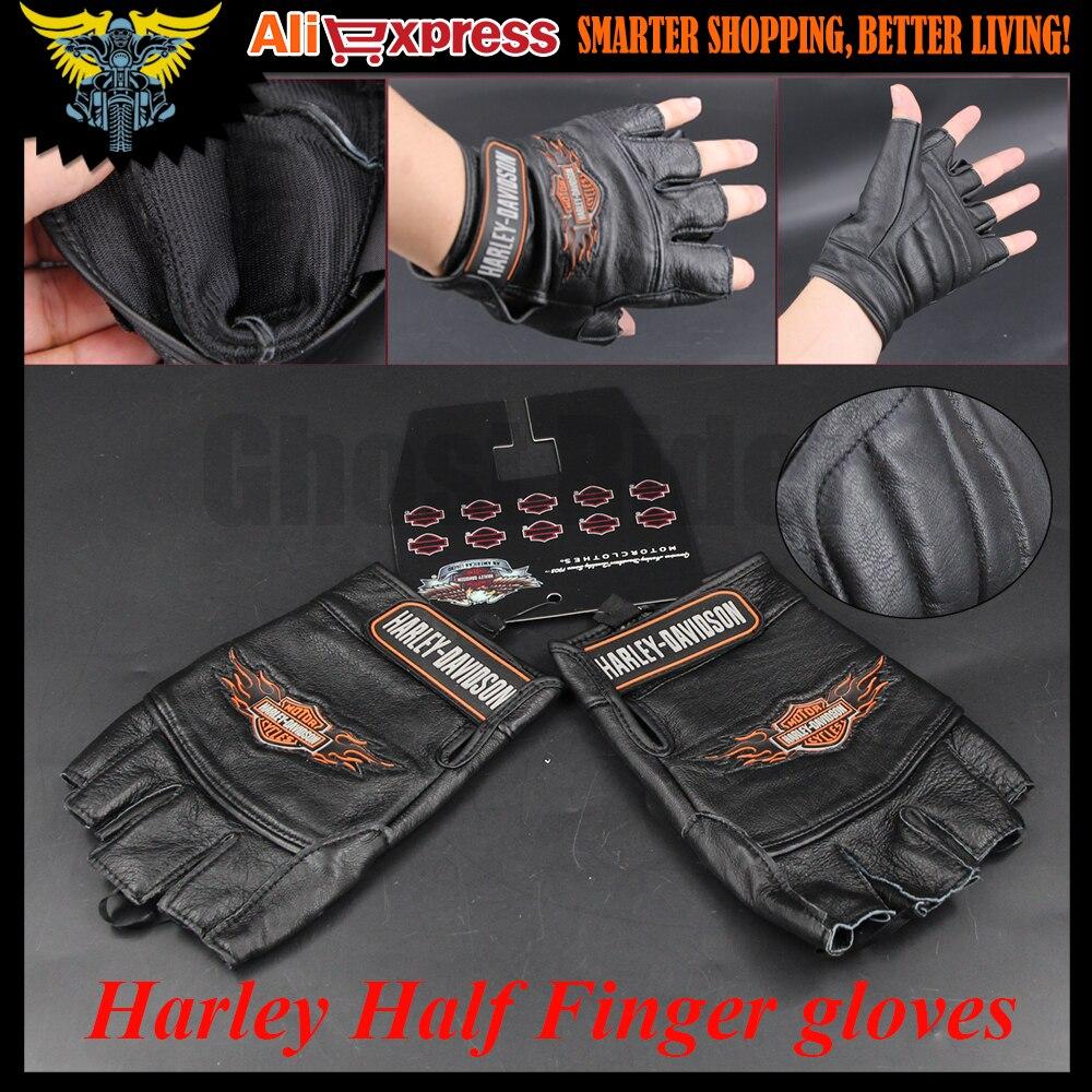 Motorcycle gloves half finger - Harley Motorcycle Gloves Half Finger Gloves Men S Leather Biker Leather Gloves Harley Sportster Dyna Touring Softail