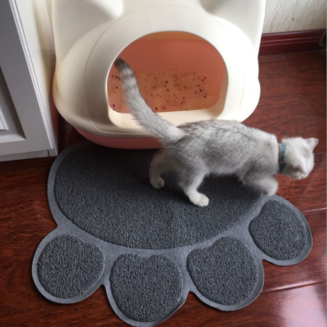 Home PVC Pet Dog Cat Feeding Mat Pad Cute Paw Pet Dish Bowl Feed Place Puppy