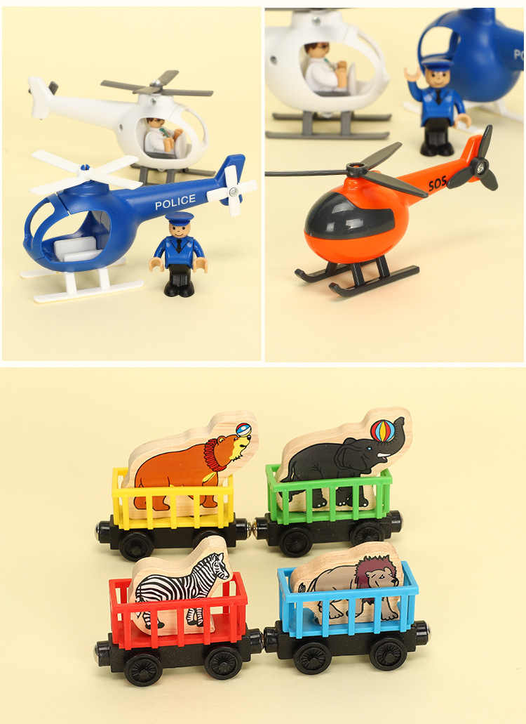 EDWONE Wood Magnetic Train Plane Wood Railway Helicopter Chrismas Car Accessories Toy For Kids Fit Wood new Biro Tracks Gifts