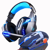 Gaming Headphones Headset Earphone Over ear with Microphone Stereo Bass + Gaming Mouse DPI LED USB Wired Mice Optical gift