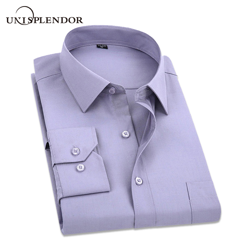 Plus Size 5XL 2018 Spring Men Dress Shirts Pure Color Men's Long Sleeve Korean Shirt Male Slim Fit Business&Casual Chemise YN307