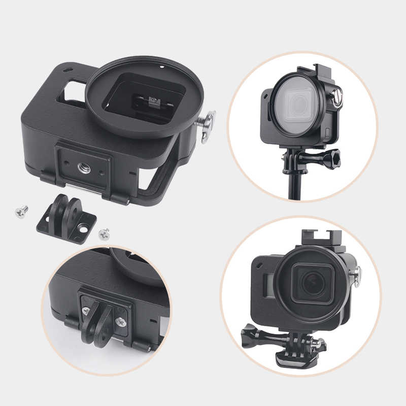 MEETBM ZIMO,Housing Shell CNC Aluminum Alloy Protective Cage with Insurance Frame /& 52mm UV Lens for GoPro HERO7 Black //6//5 Black Color : Red