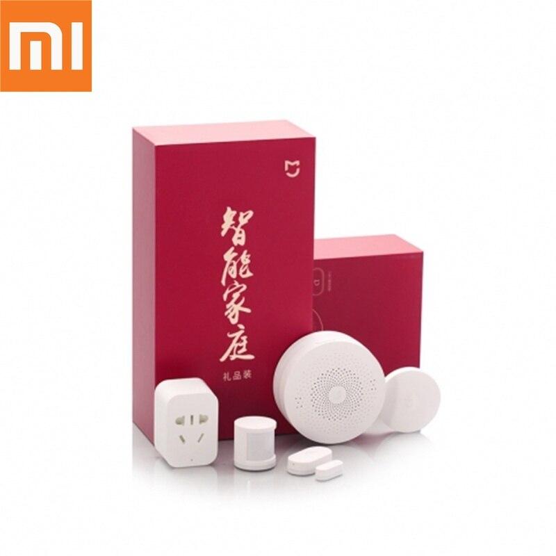 Original Xiaomi 5 en 1 Kit maison intelligente passerelle porte fenêtre capteur capteur corps humain interrupteur sans fil Zigbee Socket ensembles boîte-cadeau