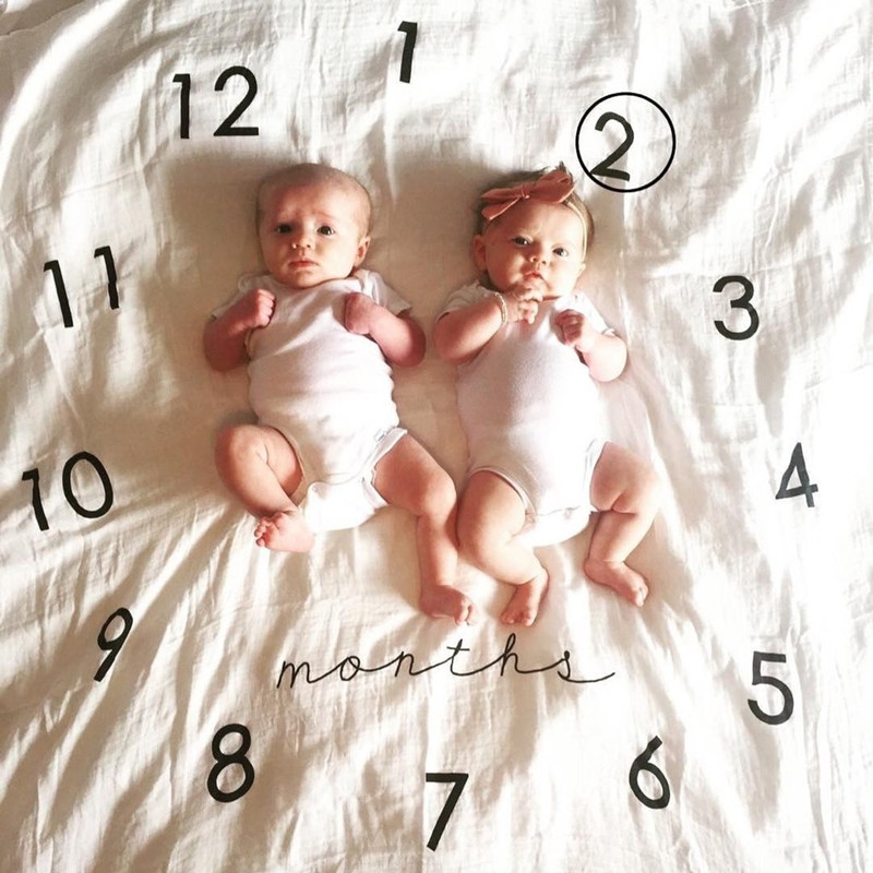Baby Infant Clock Muslin Cotton Swaddle Blanket Photography Props Backdrops Wrap