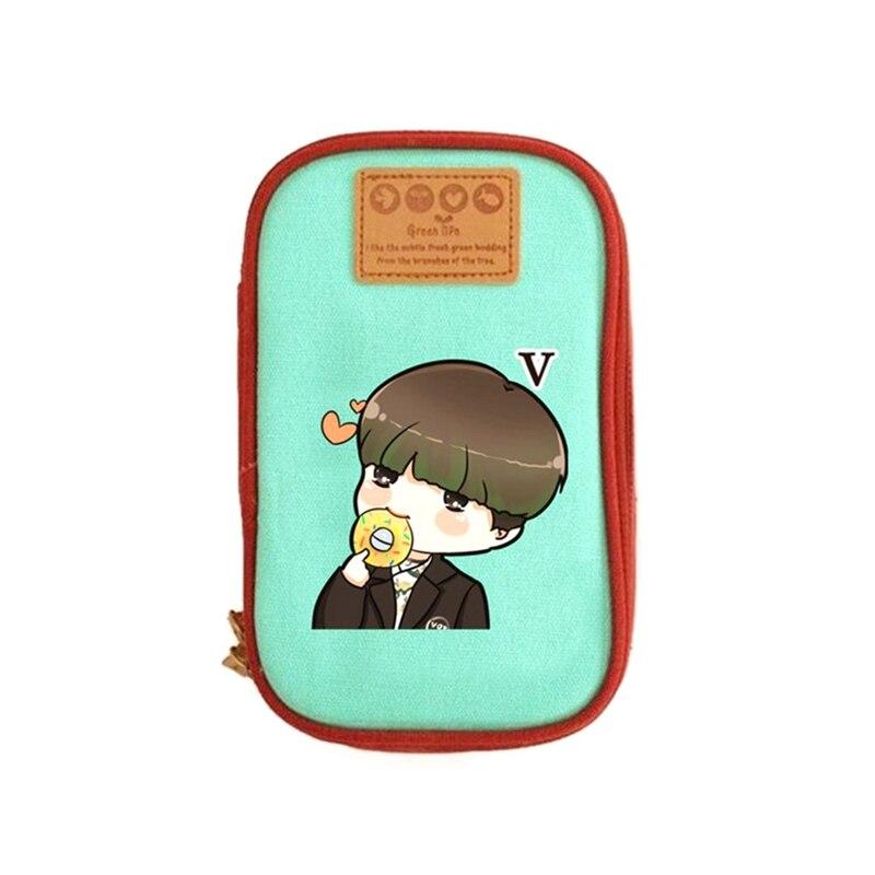 Kpop BTS Bangtan Boys Group Pencil Holder SUGA JIMIN V Stationery Storage Bags School Supplies Hip Hop Small Cosmetic Makeup Bag