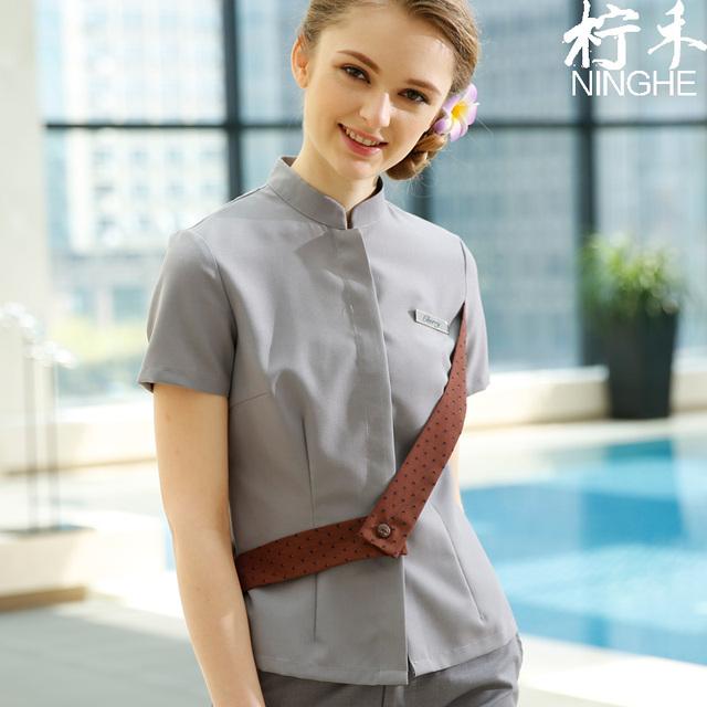 Plus Size Personalizar Workwear Thai Massage SPA Vestuário Feminino Puro Algodão Cinto Personalidade Tops + calças de Comprimento No Tornozelo Saia Conjuntos de Salão de Beleza