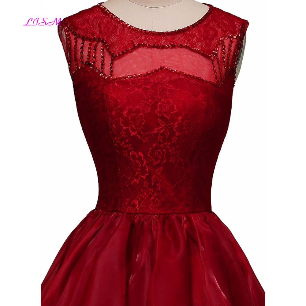 Vintage Lace Beaded Short Homecoming Dresses Scoop Sleeveless Mini Party Gown A-Line Sheer Back Tiered Satin Cocktail Dress 2019