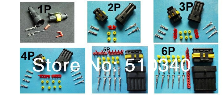 Free Shipping 30 sets 1/2/3/4/5/6 Pin/way HID Car Waterproof Electrical connector kits,6 in 1 sample kits for car boat ect.