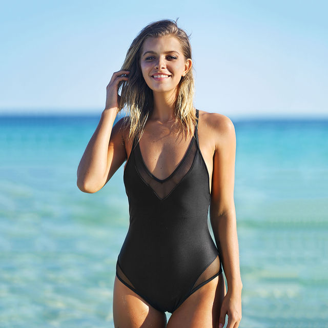CUPSHE Temptation Mesh One-piece  Swimsuit Summer Sexy Deep V neck Bikini Set Ladies Beach Bathing Suit Swimwear
