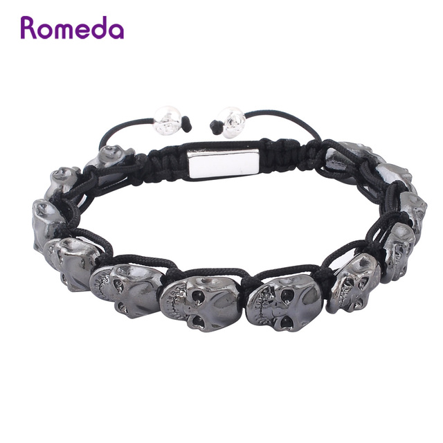 Romeda Skull Bracelets For Mens White Gold Gun Black Zinc Alloy Beads Hand Woven