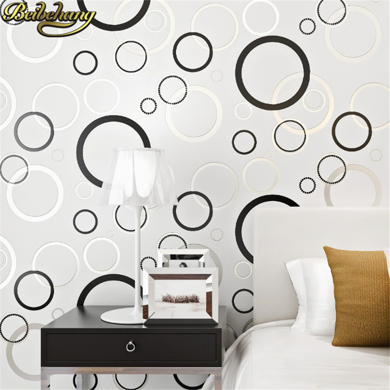 beibehang 3D Wallpapers Modern Geometric Paper for Walls Circle designs Non Woven Wallpaper Living Room Bedroom Background beibehang modern simple wallpapers 3d stereo nonwovens wallpaper warm living room bedroom background wallpaper cat4410