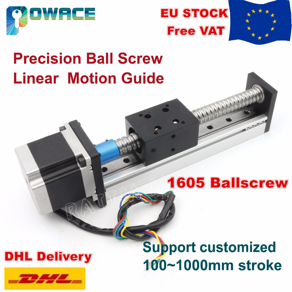 [EU Stock/Free VAT] 1605 Slide Stroke 100mm/200mm Linear Motion Guide Precision Ball Screw Z Axis+Stepper Motor for CNC Router