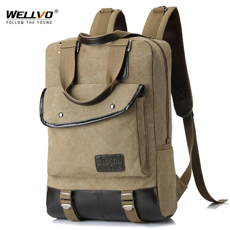 Wellvo Men Canvas Backpack Vintage College Students School bags Casual Rucksacks Laptop Backpacks Women Mochila Buttons XA94WC xi yuan backpack men male canvas college student school backpack casual rucksacks laptop backpacks women mochila