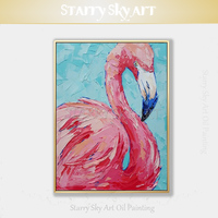 Beautiful Wall Art Hand painted High Quality Palette Knife Bird Flamingo Oil Painting on Canvas Pink Animal Flamingo Painting