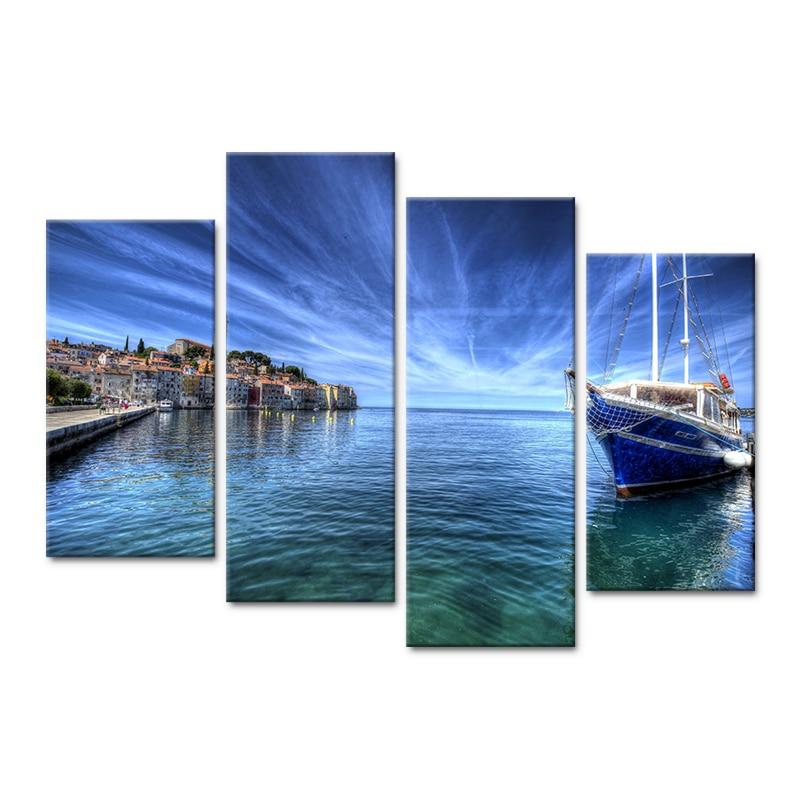 4 panel modul dənizkənarı qayıq, memarlıq mənzərəsi afişa HD - Ev dekoru - Fotoqrafiya 3