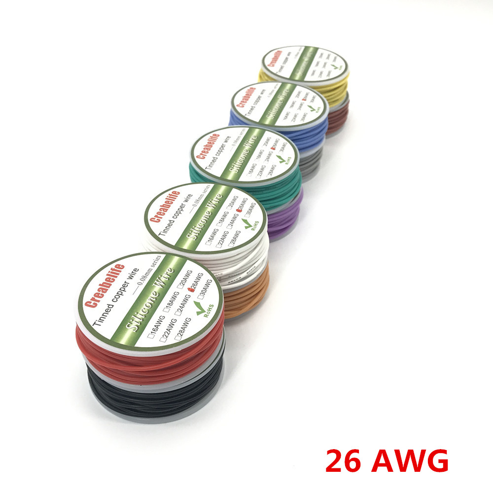 10m 26 AWG Flexible Silicone Wire RC Cable OD 1.5mm Line With 10 Colors to Select With Spool Tinned Copper Wire Electrical Wire