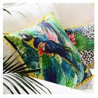 Tropical Cuscino Foglia di Palma Cuscino 45X45 CM Giardino Sedia Cuscino Pianta Uccello Federa Rosa Verde Vintage Cuscino all'aperto