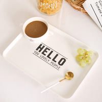Nordic Melamine Food Tray Breakfast Disk Receiving Plate Fruit Tray Coffee Bread Decorating Plate Charger Plate Serving Tray