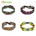 8SEASONS Glass Boho Chic Seed Beads Bracelets Black Cotton Cord Multicolor Rhombus Bohemia 1 Piece