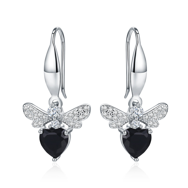 Black Awn Trendy 2.5g 925 Sterling Silver Earring Black Spinel Anniversary Butterfly Drop Earrings for Women Fine Jewelry II089