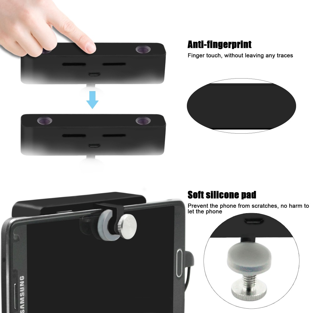 Black Dual lens External 3D 360 VR Camera for android